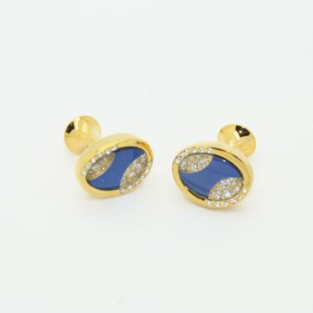 SKU#PN-F29 Golden Enamel Crystal & Onyx Cufflinks Set Blue $29