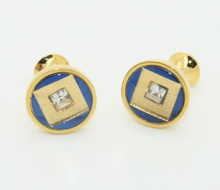 SKU#PN14 Golden Enamel Crystal & Onyx Cufflinks Set Blue $29