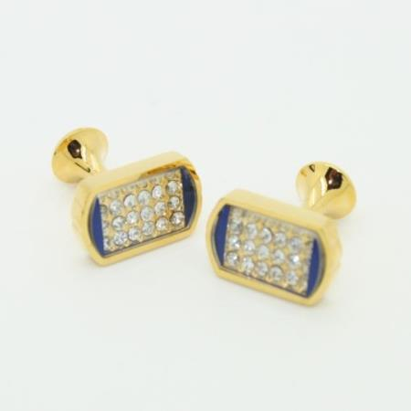 SKU#PN-I50 Golden Enamel & Crystal Cufflinks Set Blue