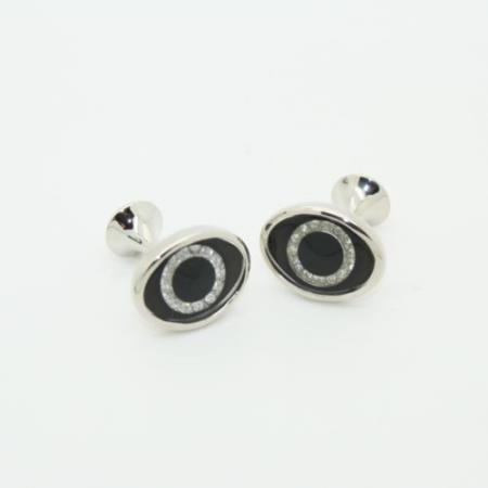 SKU#PNH51 Stainless Steel Onyx Crystal Cufflinks Set Black