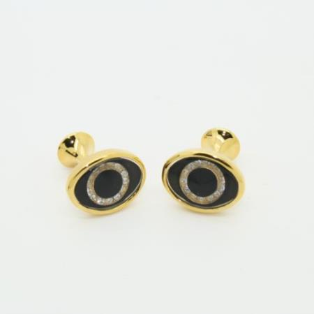 SKU#PN-T51 Golden Enamel Crystal Onyx Cufflinks Set Cuff Links Black