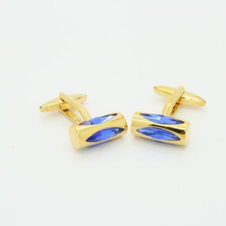 SKU#PNG52 Golden Blue Purple Crystal Cufflinks Set Cuff Links $29