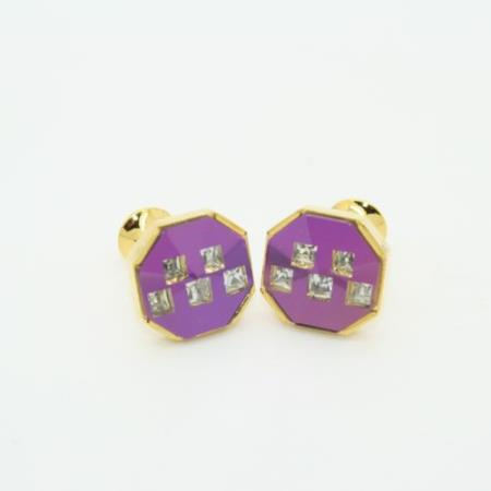 SKU#PNW53 Golden Enamel Crystal & Onyx Cufflinks Set Purple