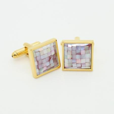 SKU#PN-L55 Golden Multi Pink Onyx Cufflinks Set