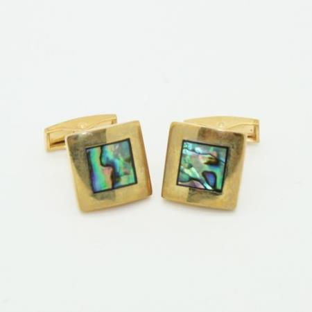 SKU#PNO62 Golden Vintage Abelone Style Cufflinks Set Green