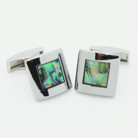 SKU#PN_A65 Stainless Steel Abalone Style Cufflinks Set Vintage Green $29