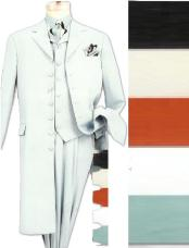 "SKU# PUK889 MUH45TV1 three piece light zoot suit 38"" 5 button long jacket, with a wide leg pleated pant notched"
