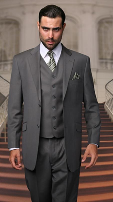 Statment Italy Pleated Pants Vested 3 Piece Regular Fit Oxford Gray $199.00 AT vintagedancer.com