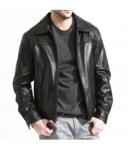 Sku Pn K51 Mens Modern James Dean Leather Jacket Full Grain