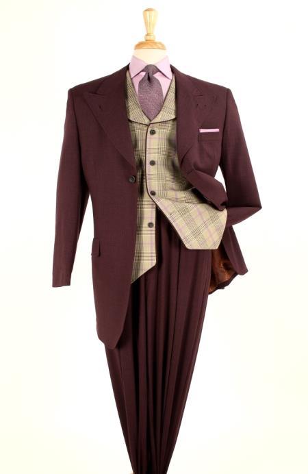 Mens 3 piece 100 Wool Fashion Suit - Glen Plaid Vest Gold Burgundy $199.00 AT vintagedancer.com