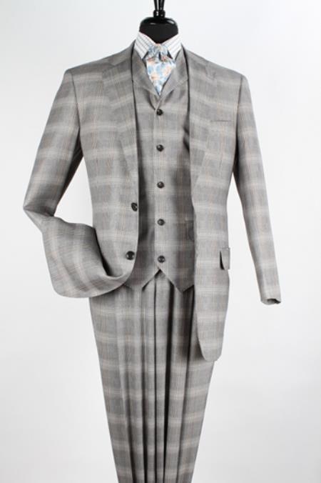 Mens 3 piece High Fashion Suit - Fancy Plaid Grey Taupe $199.00 AT vintagedancer.com