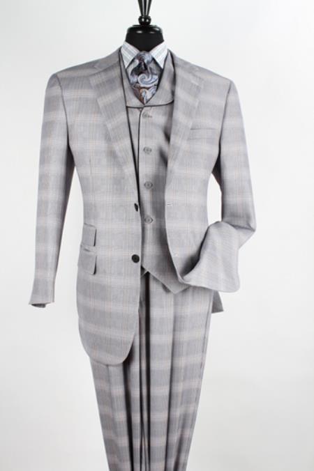 Mens 3 piece High Fashion Suit - Fancy Plaid Grey $199.00 AT vintagedancer.com