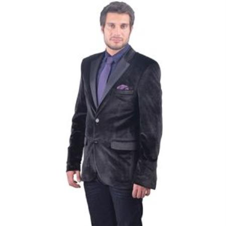 Mens Black Fitted Velvet
