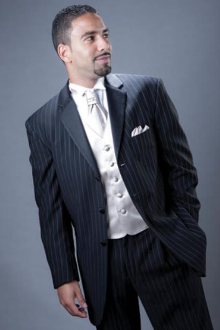 1940s Men's Suit History and Styling Tips Pinstriped Tuxedo Suit Navy $595.00 AT vintagedancer.com