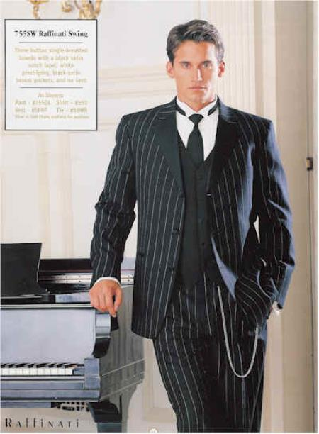 1940s Men's Suit History and Styling Tips Pinstriped Tuxedo Suit BlackWhite $595.00 AT vintagedancer.com
