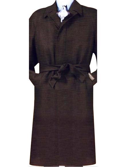 SKU#Coat0600 Mens Full Length 4 Button Hidden Button Blend Top Coat With Removable Belt black Color
