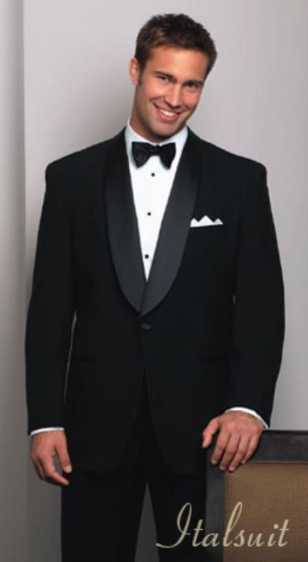 Mens One Button Shawl Collar Super 150s Black Tuxedo Extra Fine Wool $250.00 AT vintagedancer.com