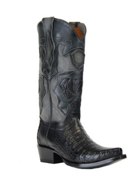 Mens Black Genuine Caiman Belly Handcrafted Dress Cowboy Boot Cheap Priced For Sale Online