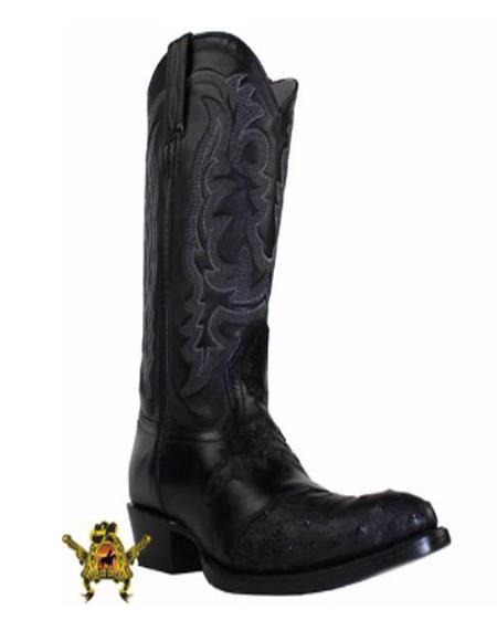 Mens Black Semi oval toe Genuine ostrich Handmade Dress Cowboy Boot Cheap Priced For Sale Online - Botas De Avestruz