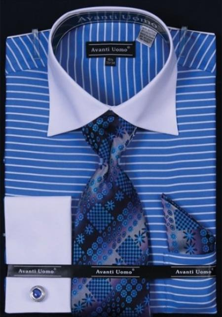 Sku Ac 415 Avanti Uomo Blue Horizontal Stripe Two Tone