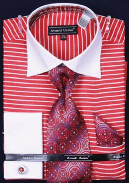 Sku ac 421 avanti uomo red horizontal stripe two tone for Horizontal striped dress shirts men