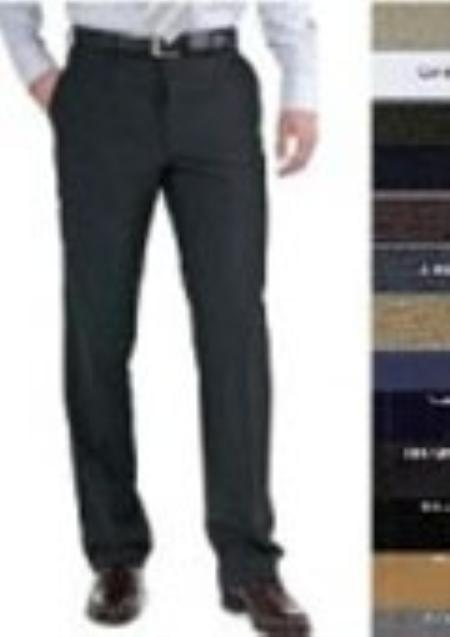 SKU#BHR724 Stunning Flat Front Tapered Slim Cut Fitted 100% Wool Slacks