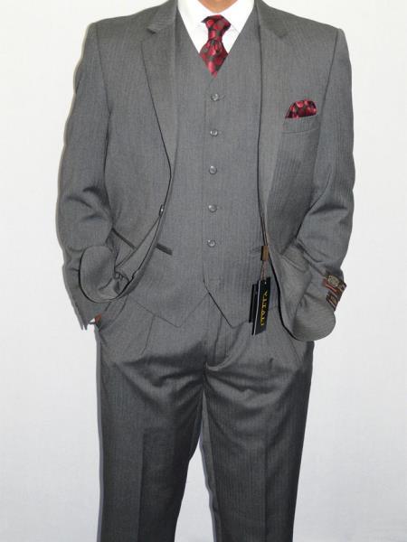 Mens Three Piece Vested Suit Mini Herringbone Gray $175.00 AT vintagedancer.com