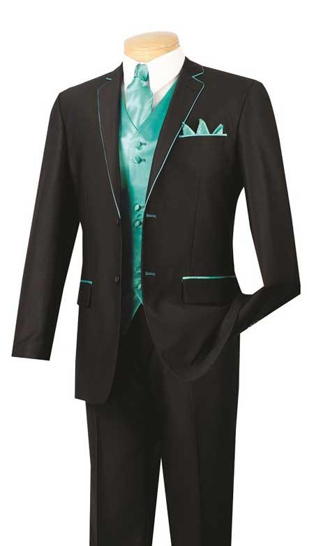 Sku Bc 57 Tuxedo Amp Formal Black Turquoise Trim Prom Suit Bla