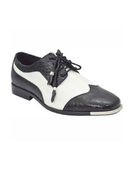 Mens White Dress Shoes Black