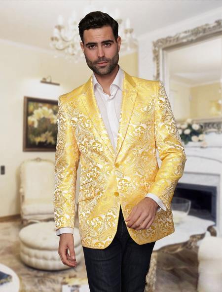 Yellow Shiny Floral Mens Tuxedo Dinner Jacket Blazer