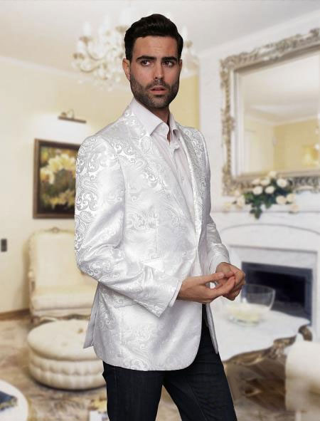 Floral Satin Shiny Mens Tuxedo Dinner Jacket Blazer