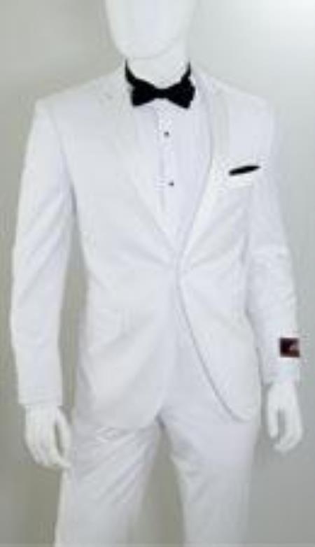 1 Button Peak Lapel White Tuxedo Suits