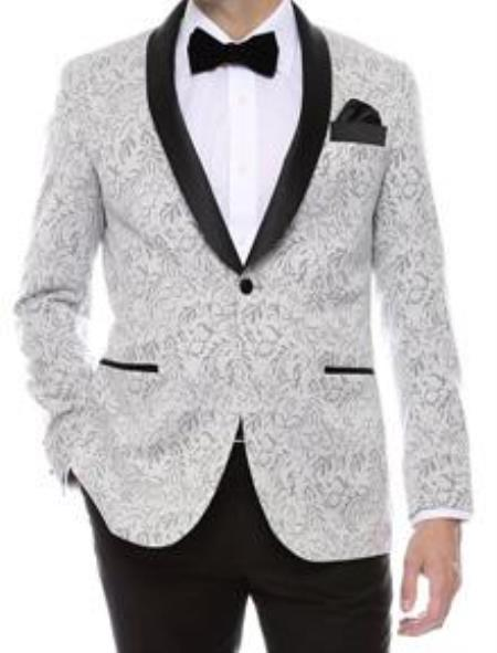 SKU#QY58L Floral Mens Satin Shiny tuxedo suits Dinner Jacket