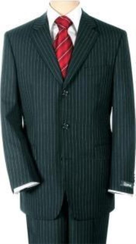 SKU# B2K-11 UMO Collezion Mens  Sharp Black Pinstripe Super 140s Wool $295