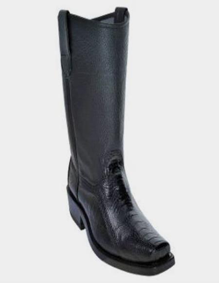 Mens Los Altos Ostrich Leg Biker Boots With Leather Sole Black