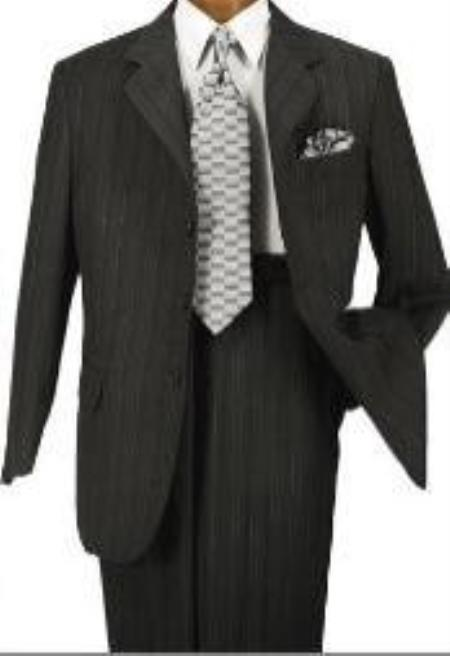 SKU#AMNS6306 Black Stripe %100 Soft Flat Front Pants Cool Poly/Rayon 3-Button Suit Double Vent $125