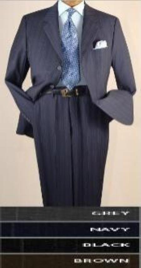 SKU#AMNS6306 Variegated Stripe %100 Soft Flat Front Pants Cool Poly/Rayon 3-Button Suit Double
