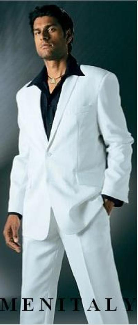 1970s Men's Suits History | Sport Coats & Tuxedos White Suit With Flat Front No Pleat Pants With shirt $149.00 AT vintagedancer.com