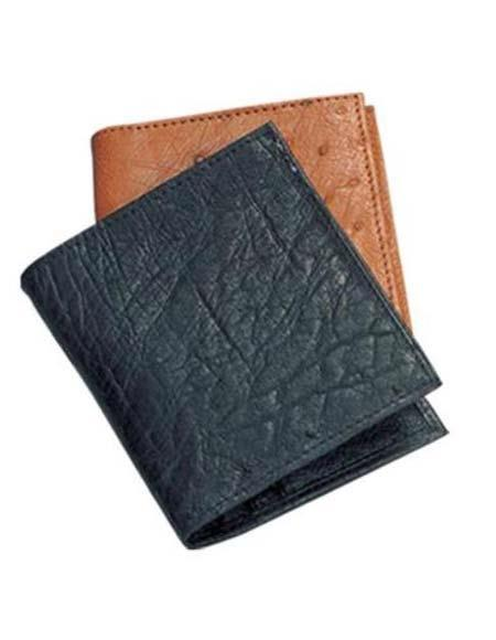 Mens Genuine Exotic Animal Skin Ferrini Genuine Smooth Ostrich Wallet Black,Cognac