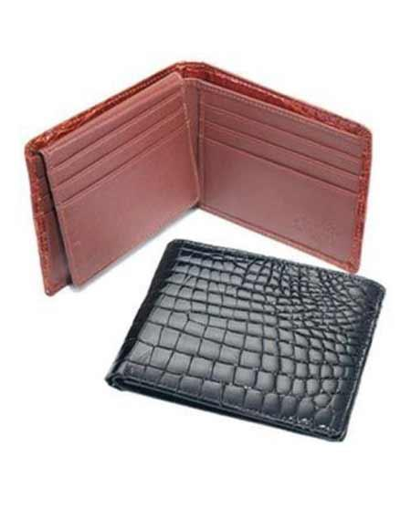 Mens Genuine Exotic Animal Skin Ferrini Genuine Crocodile Wallet Black,Cognac