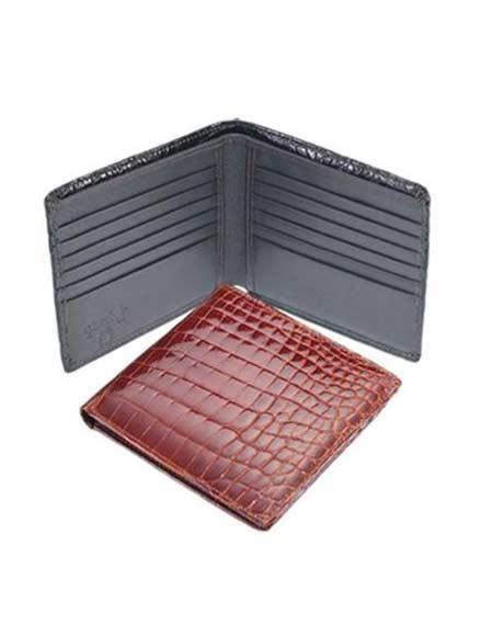 Mens Genuine Exotic Animal Skin Ferrini Genuine Crocodile Wallet Black,Cognac