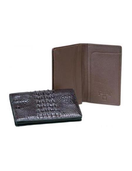 Mens Genuine Exotic Animal Skin Ferrini Genuine Hornback Crocodile Card Holder Wallet Black,Brown