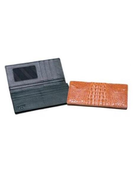 Mens Genuine Exotic Animal Skin Ferrini Genuine Hornback Crocodile Checkbook Wallet Black,Cognac