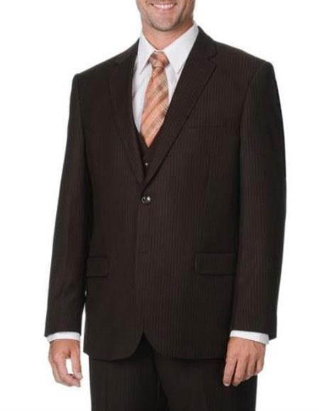 Mens 2 button Mini Pinstripe Vested 3 Piece Suits Side Vents Brown