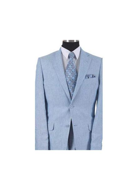 Two Button With Elbow Patch sleeve Light Blue Mens Linen Summer Suit or Blazer or Sportcoat