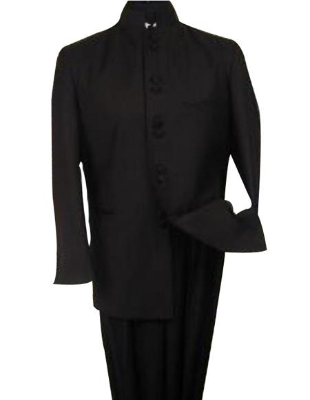 SKU#M78 Black 8 Button Mandarin banded collar Nehru Style Suit non back  vent coat style coat Pleated Pants $149