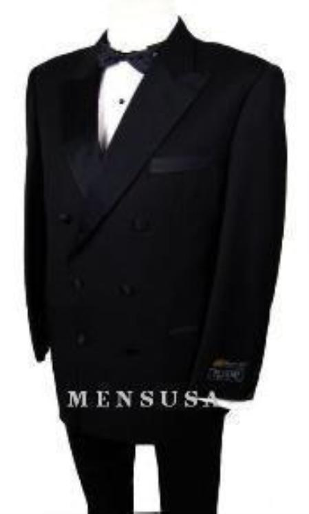 SKU# W110 Mens 2-Button Peak Lapel Double Breasted Tuxedo 6 on 2 Button Closer Style Jacket$595