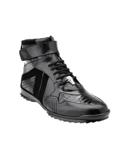 Soft Calfskin High Top Mens Black Authentic Genuine Skin Italian Tennis Dress Sneaker  Rino Crocodile Suede shoes