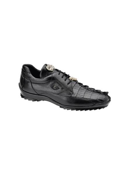 Mens belvedere Tennis Sneaker Shoes Vasco Hornback & Calfskin Black
