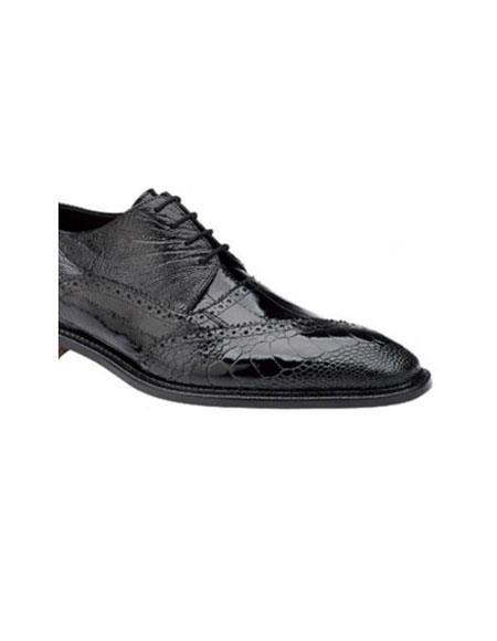 Mens Belvedere Nino Eel & Ostrich Shoes Black